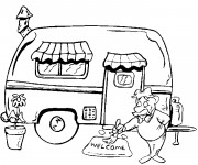 Free coloring and drawings Camping Car Coloring page