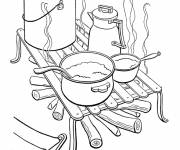 Free coloring and drawings Camping Kitchen Coloring page