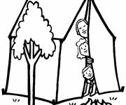 Coloring pages Family in their Tent