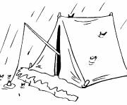 Free coloring and drawings Fishery during the rain Coloring page