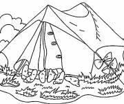 Free coloring and drawings Friends in the Camping Tent Coloring page