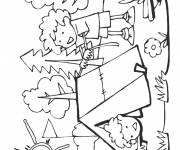 Coloring pages Happy Boy in Camping