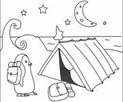 Free coloring and drawings North Pole Camping Tent Coloring page