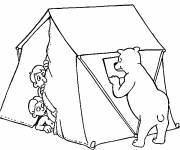 Coloring pages Scared Camping and Bear Tent