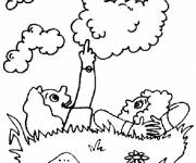 Coloring pages Children and cloudy day