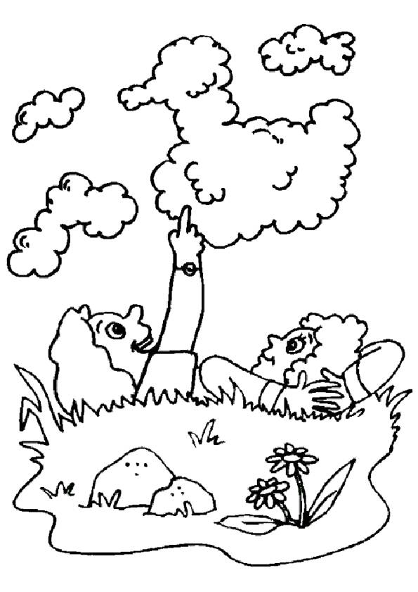Free coloring and drawings Children and cloudy day Coloring page