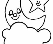 Coloring pages Cloud and Moon