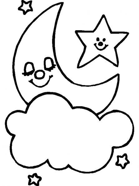 Free coloring and drawings Cloud and Moon Coloring page