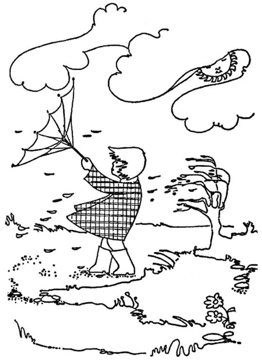 Free coloring and drawings Cloud and windy day Coloring page