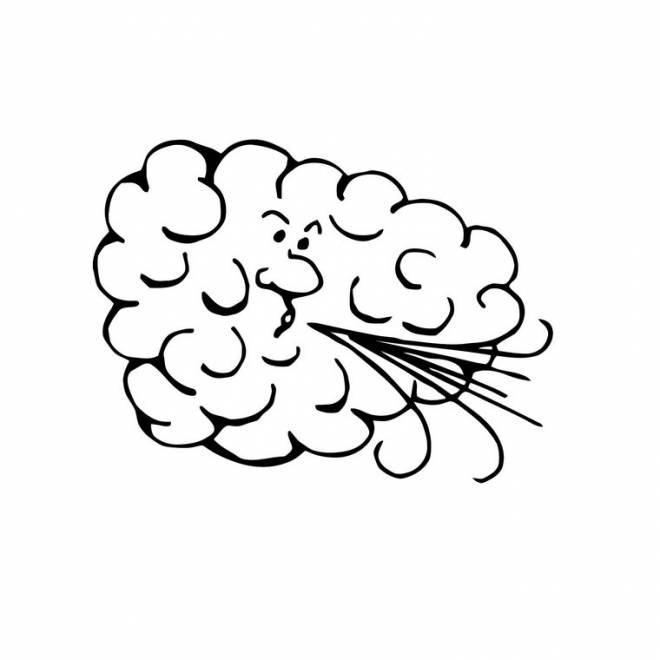Free coloring and drawings Cloud blowing to color Coloring page
