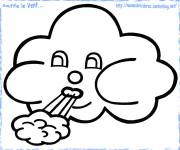 Coloring pages Cloud blows wind