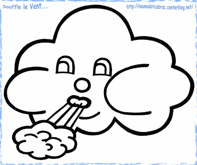 Free coloring and drawings Cloud blows wind Coloring page