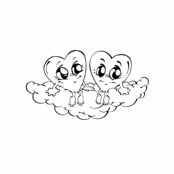 Free coloring and drawings Hearts on Cloud Coloring page
