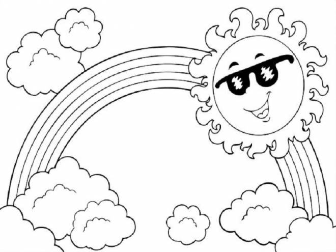 Free coloring and drawings Rainbow and sun Coloring page