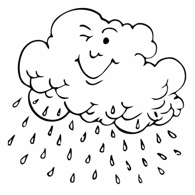 Free coloring and drawings Raining cloud Coloring page