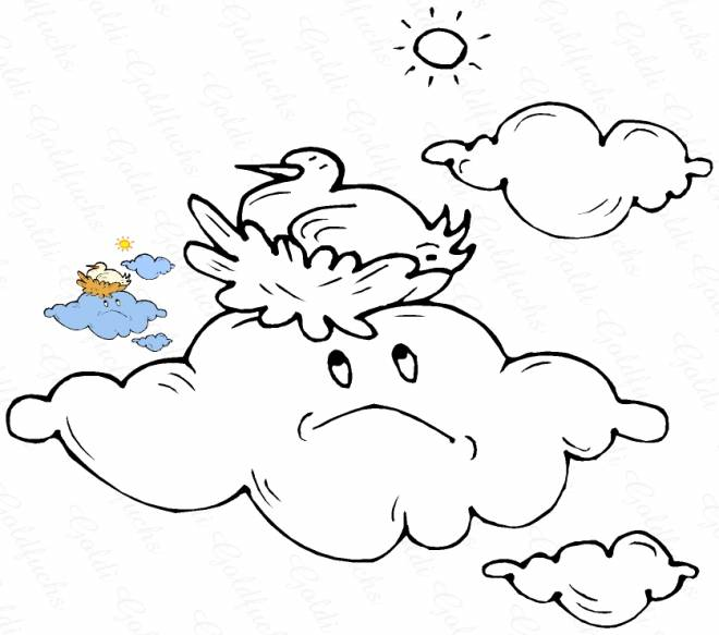 Free coloring and drawings Sad cloud Coloring page