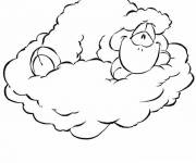 Coloring pages Sheep on the Clouds