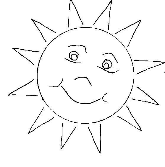Free coloring and drawings Simple Sun Coloring page