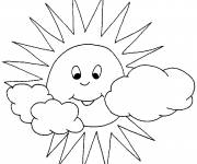 Free coloring and drawings Sun and Clouds Coloring page