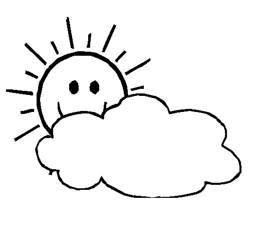 Free coloring and drawings Sun behind the clouds Coloring page