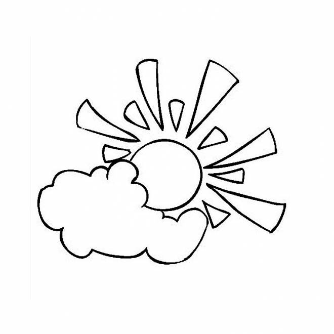 Free coloring and drawings Sun Cloud Easy Coloring page