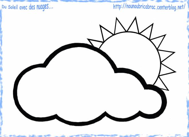 Free coloring and drawings Sun Cloud in spring Coloring page