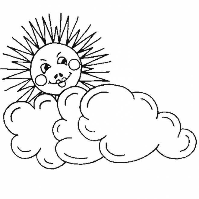 Free coloring and drawings Sun Cloud pencil Coloring page