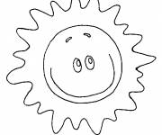 Coloring pages Sun shining smiling