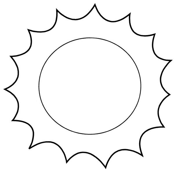 Free coloring and drawings Sun simple to complete Coloring page