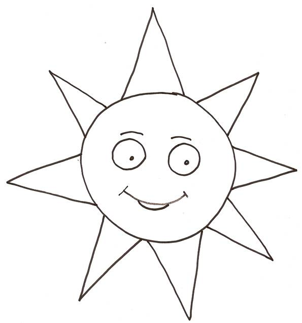Free coloring and drawings Sun smiling Coloring page