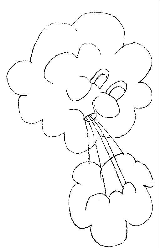 Free coloring and drawings The clouds blowing Coloring page