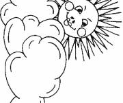 Free coloring and drawings The Sun and the Clouds Coloring page