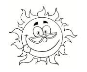 Free coloring and drawings The Sun with face Coloring page
