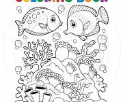 Free coloring and drawings Coral and Fish Coloring page