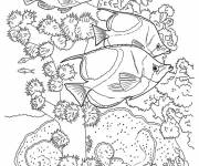 Coloring pages Exotic fish swimming by the Coral