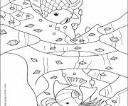 Coloring pages Fish and Coral in red pencil