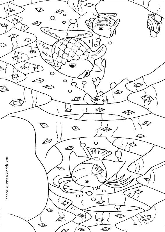 Free coloring and drawings Fish and Coral in red pencil Coloring page