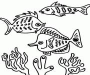 Coloring pages Fish and Corals in the sea