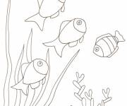 Free coloring and drawings Fish swim on the Coral Coloring page