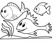 Coloring pages Happy fish swim on coral