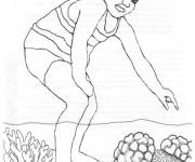 Coloring pages Little child and Coral
