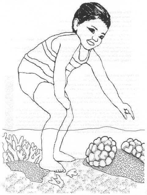 Free coloring and drawings Little child and Coral Coloring page