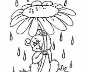 Coloring pages Marguerite as umbrella