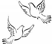Coloring pages Colored doves