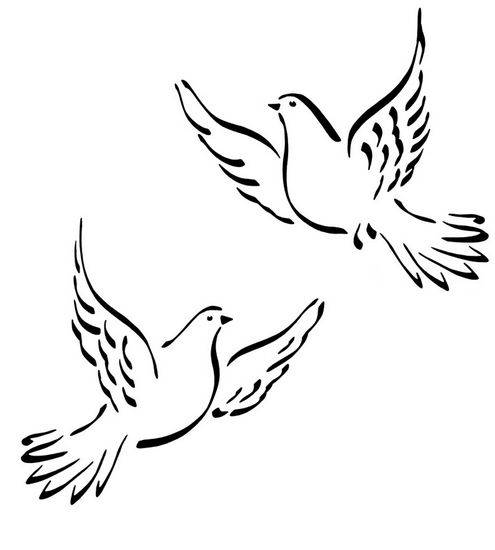 Free coloring and drawings Colored doves Coloring page