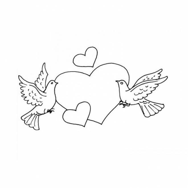Free coloring and drawings Dove and Love Coloring page
