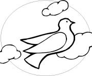 Coloring pages Dove in black under The Clouds