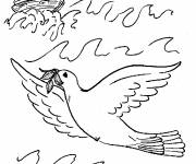 Coloring pages Dove of Peace in the sea