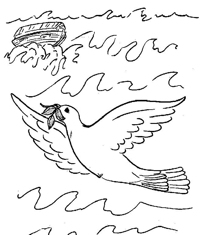 Free coloring and drawings Dove of Peace in the sea Coloring page