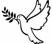 Coloring pages Drawing of a dove of peace